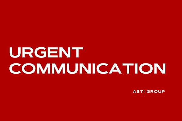 URGENT COMMUNICATION